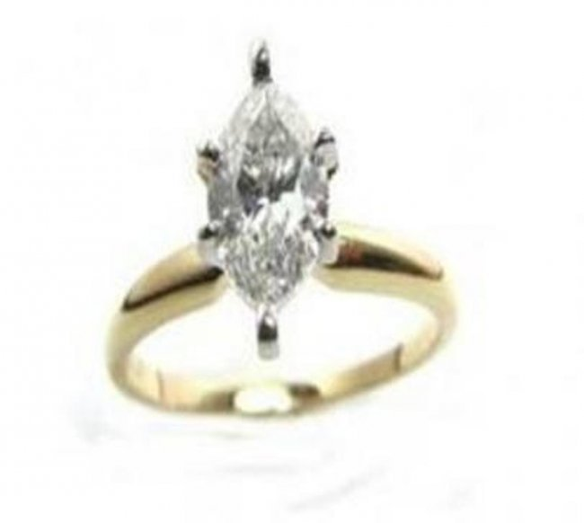 380:Solitaire Marquise Diamond Ring 1.08Ct VS2 14k Y/g