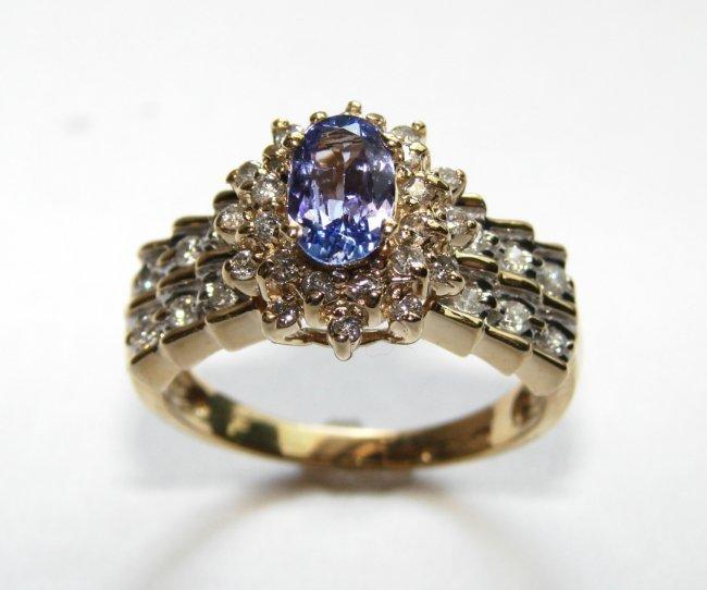 381: Tanzanite Ring: 1.80 Ct & Diamond: .80CT 14k Y/G