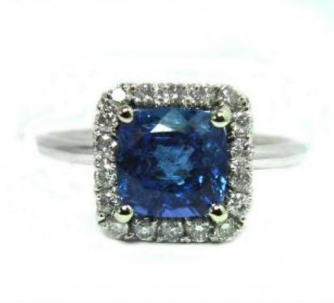 384: Tanzanite Ring: 2.22 CT & Diamond : .30 CT14k W/G