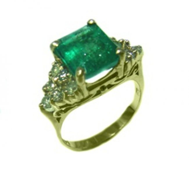 385: Emerald Ring 1.95CTDiamond: .61CT 14k Y/G