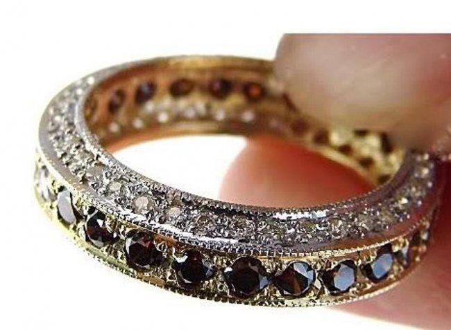 387: Brown/White Diamond Eternity Ring 4.01CT 14k Y/G