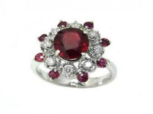 390: Ruby & Diamond Ring Ruby 3.56 Ct Diamond .42Ct 14k