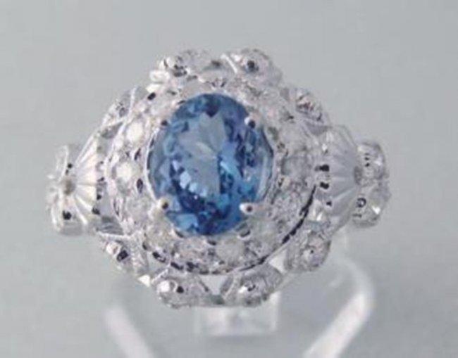 394: Tanzanite Ring  1.73CT Diamond: 1.00 CT 14k W/G