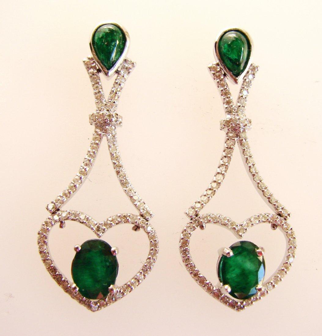 688:Emarald-Diamond Earrings Dangle 6.93Ct 14k W/g