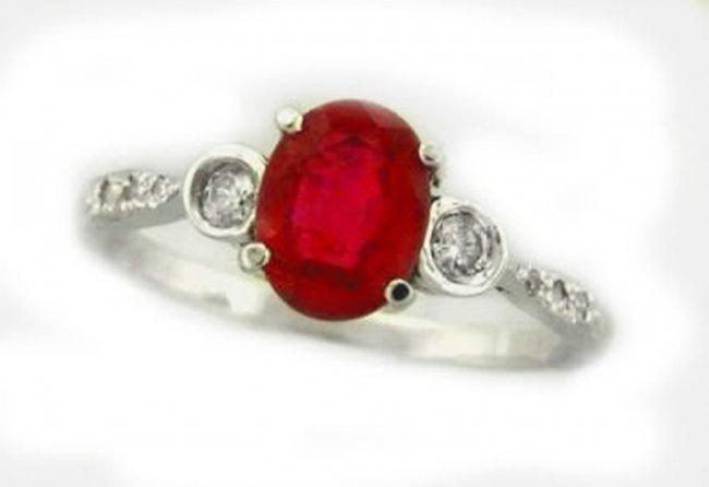 689: Ruby Ring 1.30Ct & Diamond .22Ct 14k Y/G