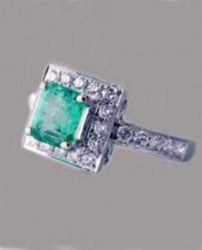 701: Emerald Ring 1.41CT Diamond: .68 CT14k W/G