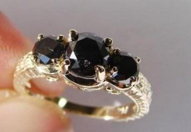 703: Black Diamond Ring 1.87 Carat 14K Yellow Gold