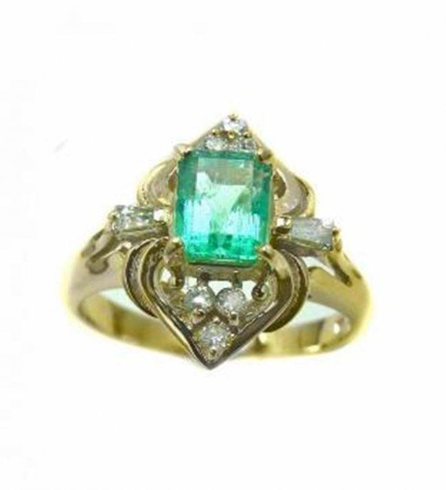 707: Emerald Ring .79 Ct Diamond .23 Ct 14k Y/g