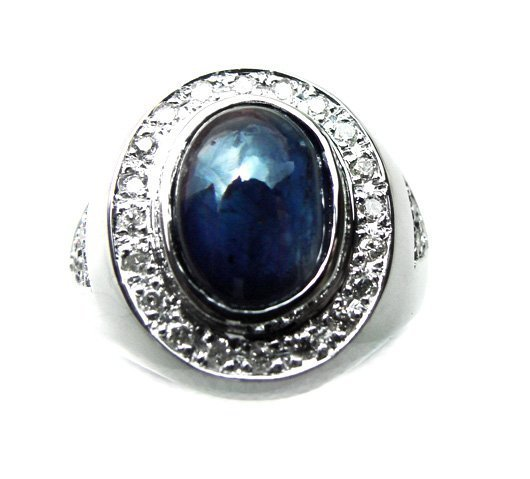 892:Man Cabochon Sapphire Ring: 4.02Ct D: .52Ct 14k W/g