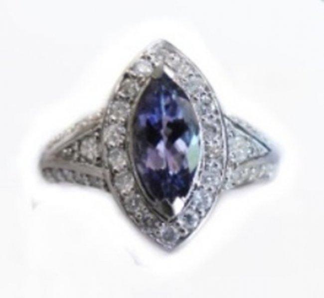 1171: Tanzanite Ring  2.10CT Diamond:1.15 CT 14k W/G