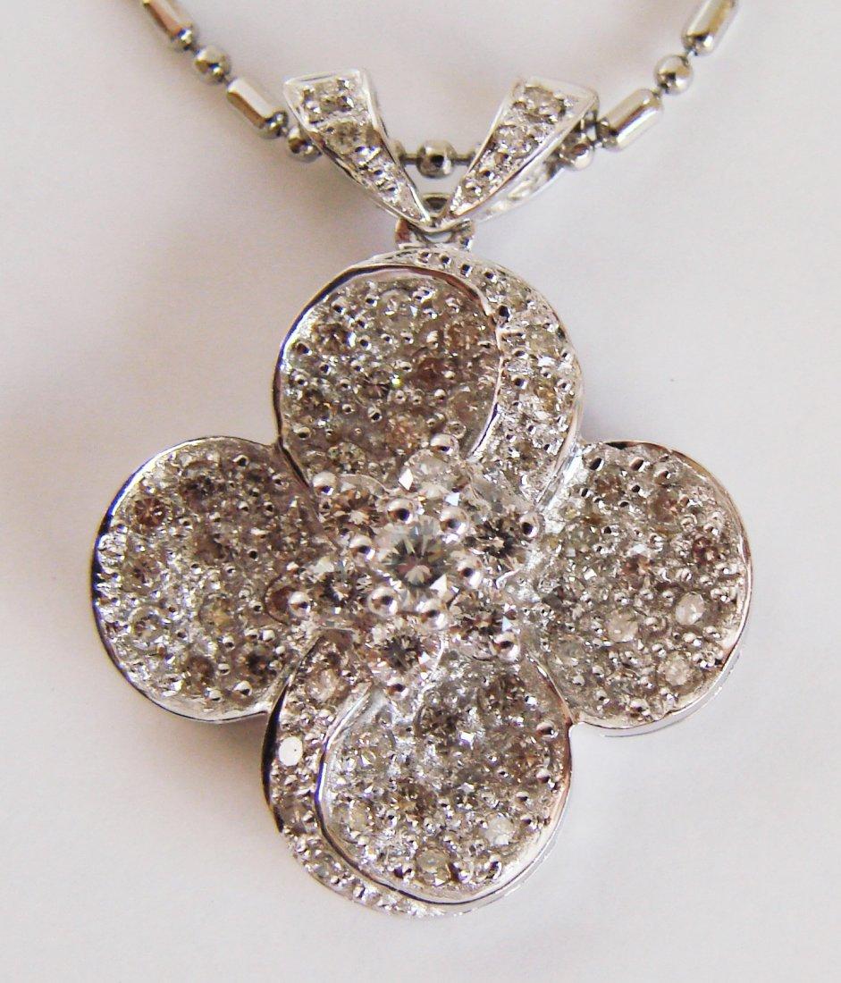 1068: Cloverleaf Diamond Pendant: .90 Carat 18k W/g