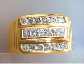 1069: Mans Diamond Ring 1.25 Carat 14k Y/G
