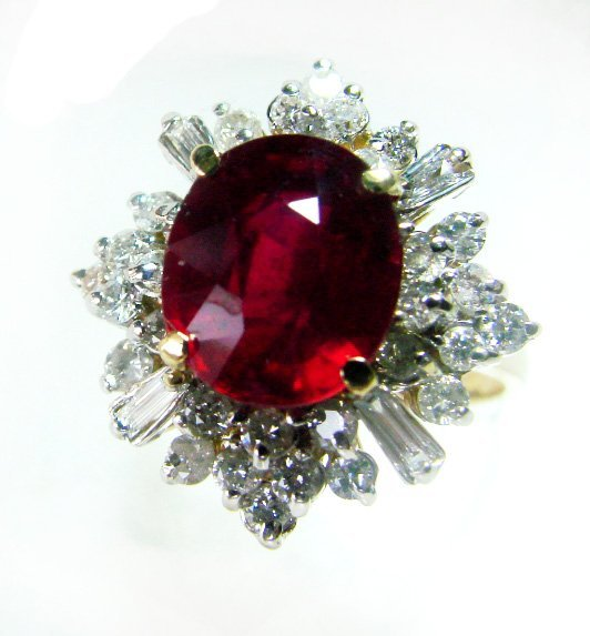 1699: Anniversary Ruby Diamond Rin 5.48Ct 14k Y/g