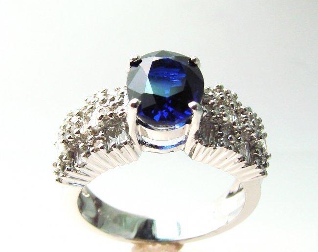 1080: Anniversary Diamond-Sapphire Ring 4.73Ct 18k W/g