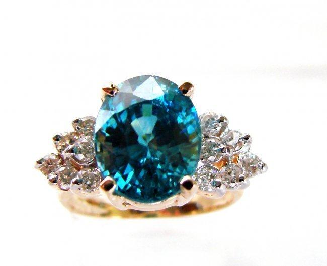 1082:Natural Blue Zircon Ring: 7.22Ct Dia .54Ct 14k Y/g