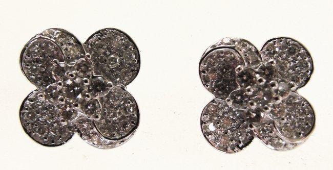 1086: Cloverleaf Diamond Earring: 1.11 Carat 18k W/g
