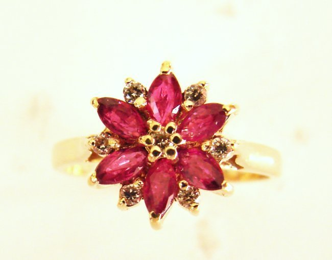 1071: Ruby Diamond Ring .87Ct 14k Yellow Gold