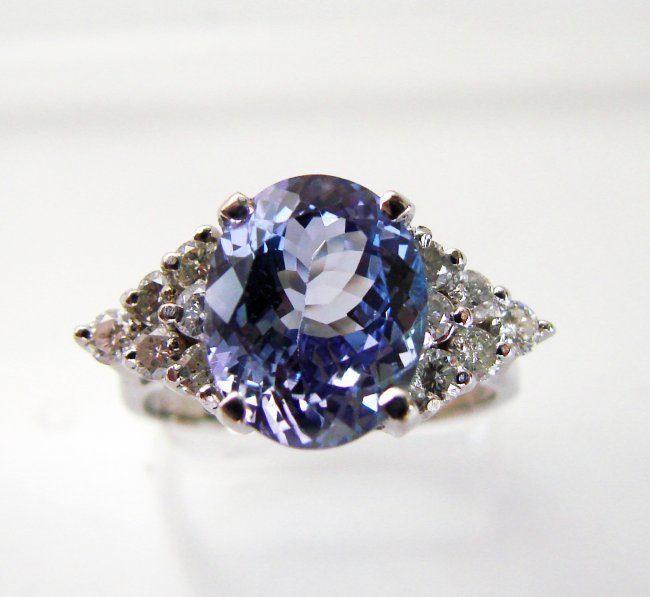1081: Tanzanite Ring: 3.32Ct & Diamond : .58 CT14k W/G