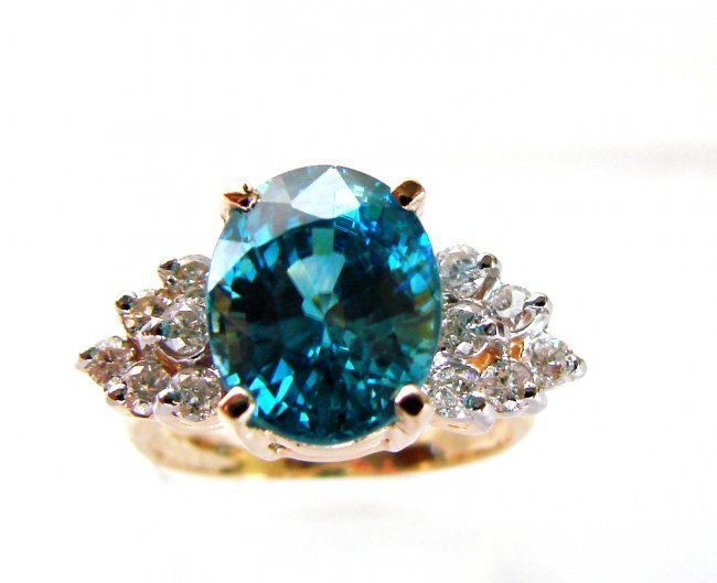 1082: Natural Blue Zircon Ring: 7.22Ct Dia .54Ct 14k Y/