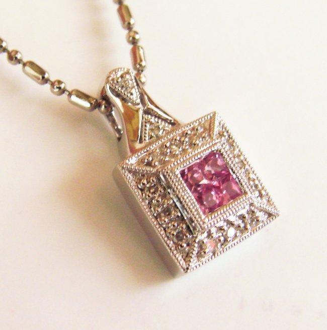 1065:Diamond Pink Sapphire Square Pendant:.36Ct 18k W/g
