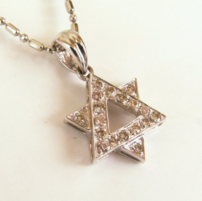 1067:Diamond  Lucky Star Pendant: .32 Carat 14k W/g