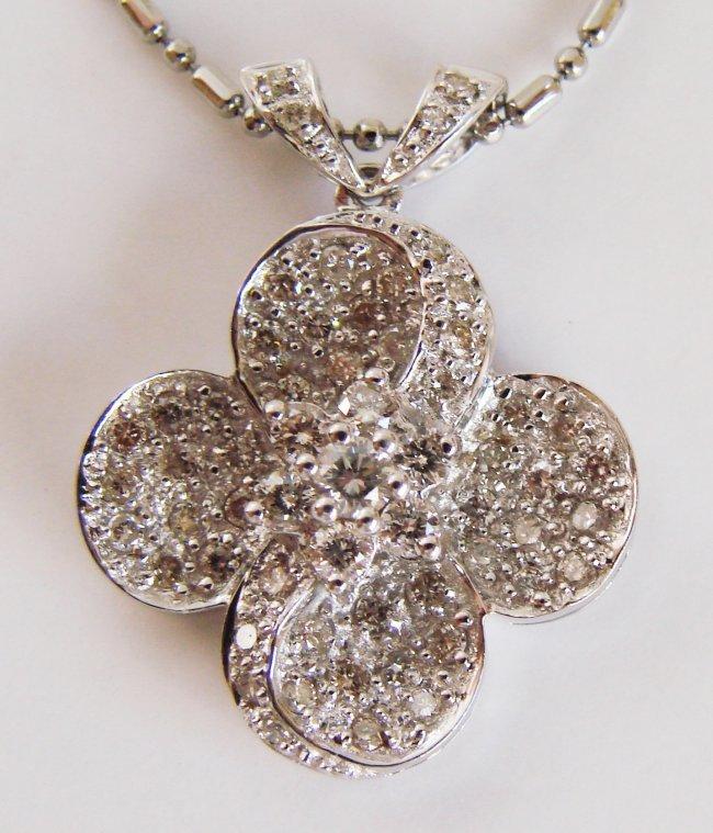 1068:Cloverleaf Diamond Pendant: .90 Carat 18k W/g