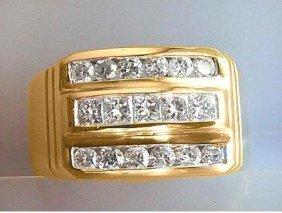 1069:Mans Diamond Ring 1.25 Carat 14k Y/G