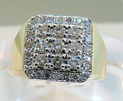 1070:Man's Diamond Ring 1.70Ct VS2 14k Yellow Gold
