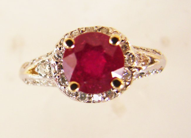 1073:Natural Ruby Diamond Ring 2.37Ct 14k Yellow Gold