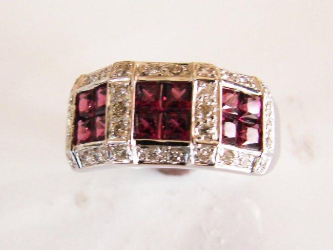 1076:Natural Tourmaline-Diamond Ring 1.80Ct 14k W/g