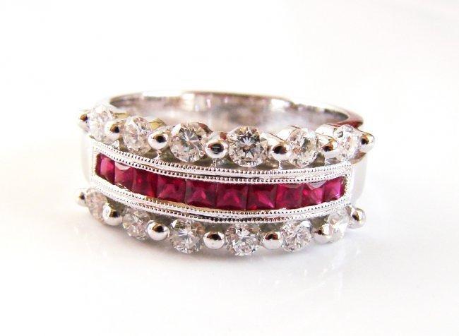 1077:Anniversary Diamond Ruby Ring 1.74Ct 18k W/G