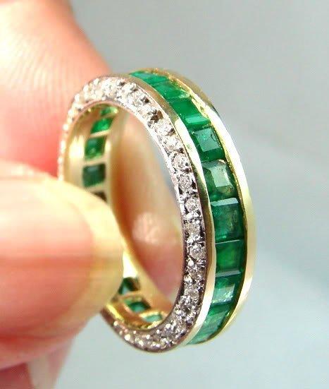 1079:Diamond/Emerald Eternity Ring 4.30Ct 14K Y/g