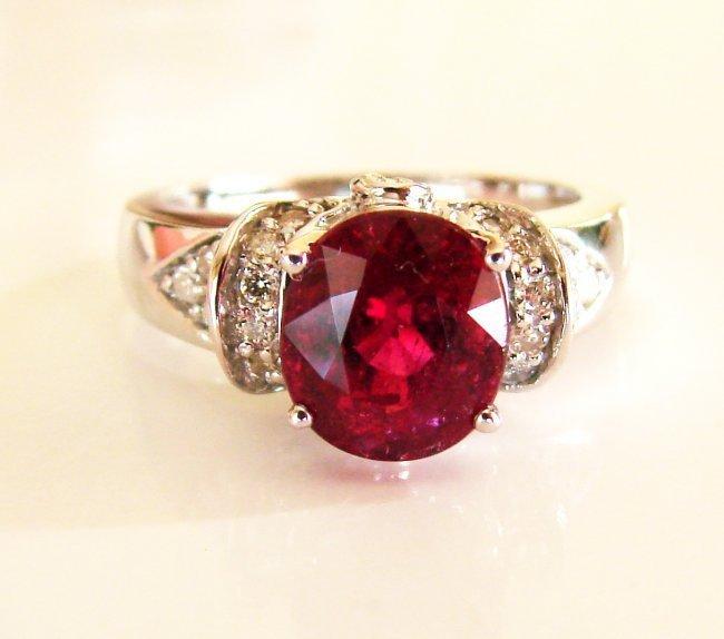 1083:Natural Ruby Diamond Ring 2.77Ct 14k White Gold
