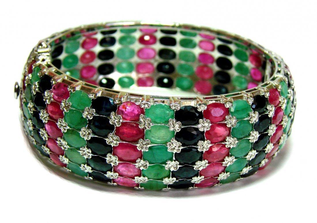 Natural Gems Multicolor Bangle 88.Carat 18k W/g Overlay