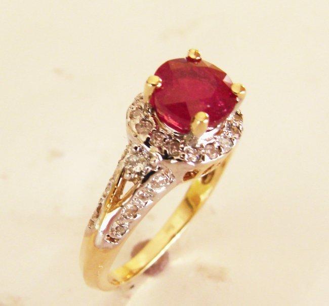 Ruby Diamond Ring 2.37Ct 14k Yellow Gold