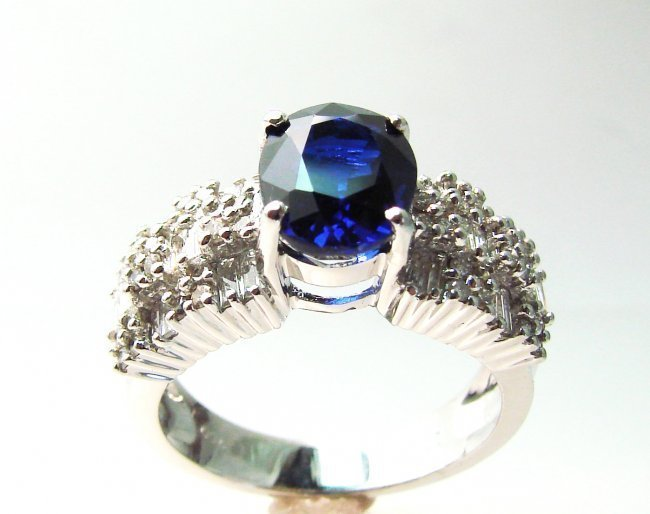 Diamond-Sapphire Ring 4.73Ct 18k W/g