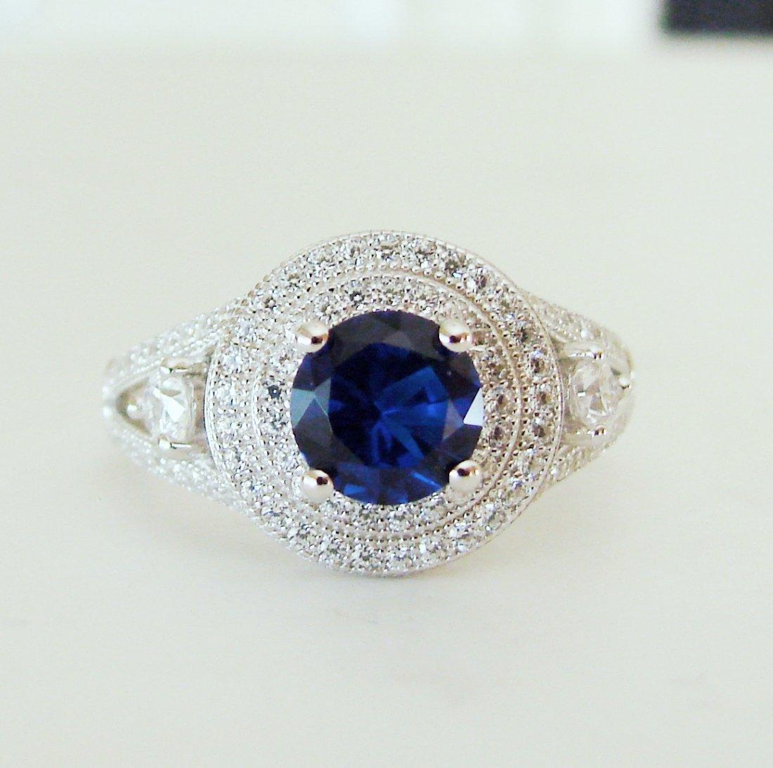 Creation Diamond-Sapphire Ring 2.10Ct 18k W/g Overlay