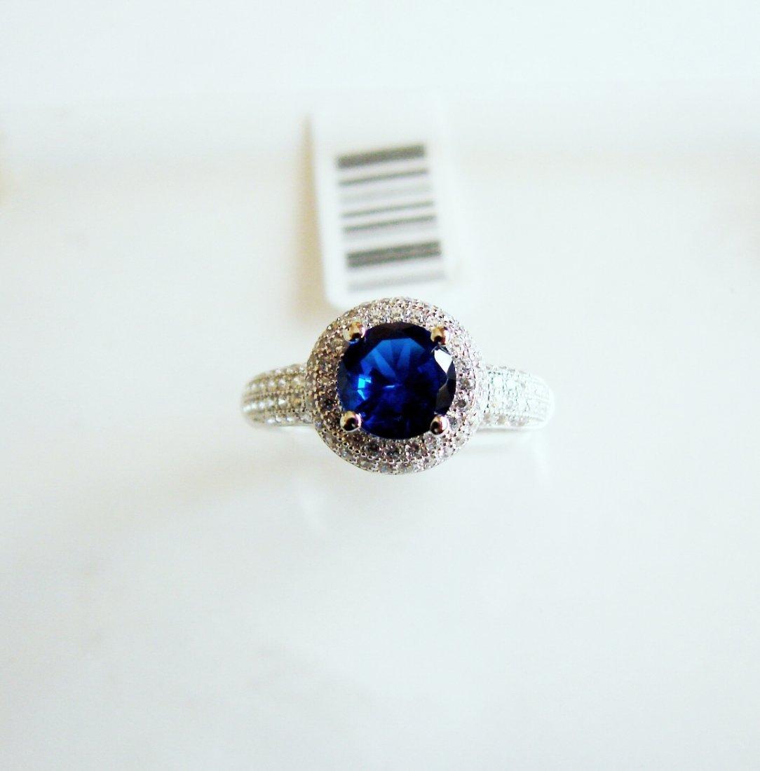Creation Diamond-Sapphire Ring 1.75Ct 18k W/g Overlay