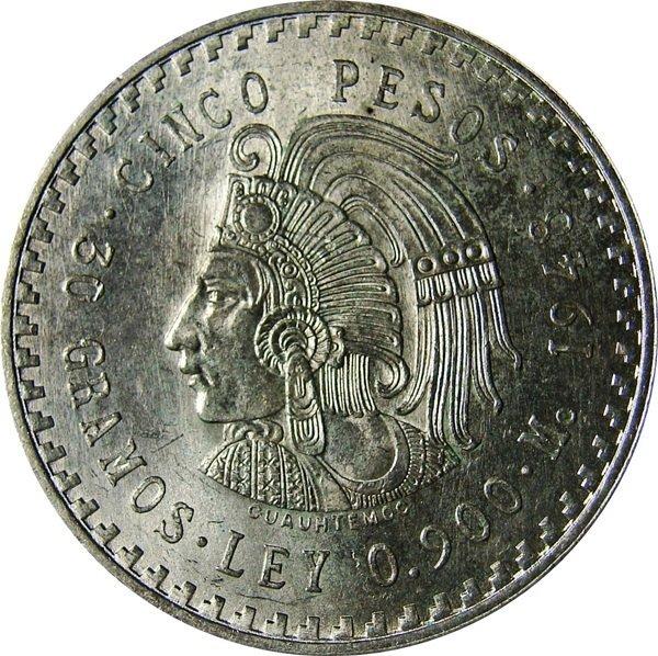 Mexico 1948- 5 Pesos Silver Cuauhtemoc UNC