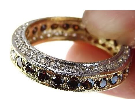 Brown/White Diamond Eternity Ring 2.66Ct 14k Y/G