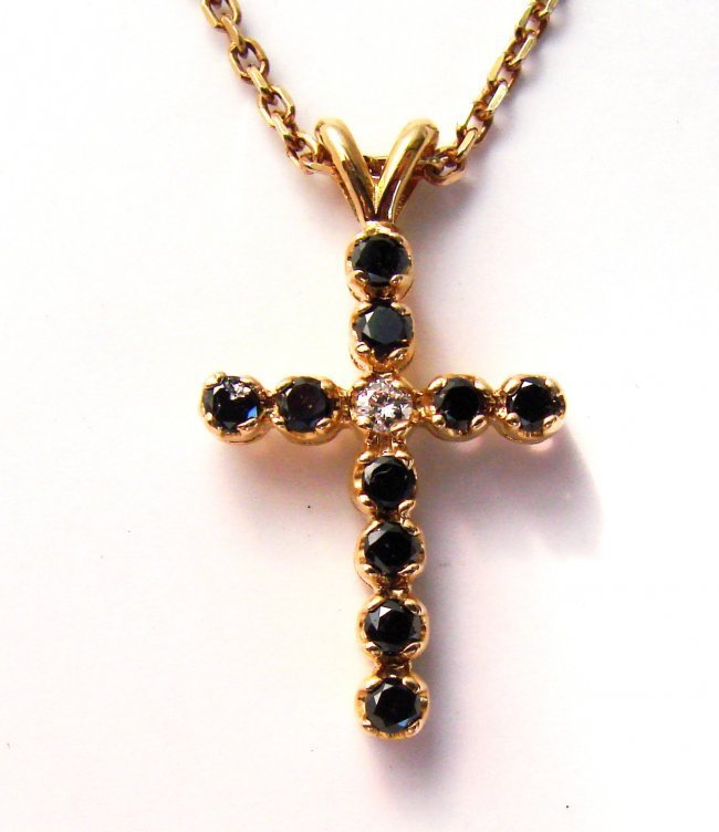Black&White Diamond Cross Pendaent 1.31Ct 14k Y/g