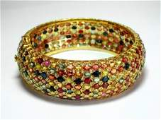 Natural Gems Multicolor Bangle 70.Carat 18k Y/g Overlay