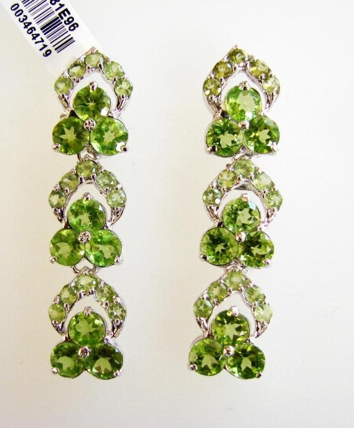 Peridot Dangle Earrings 21. Ct 18k W/g Overlay 925 Silv