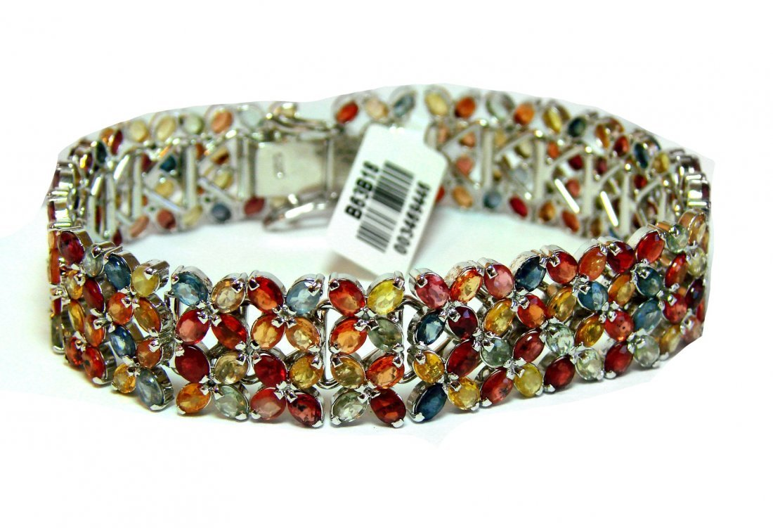 Gem: Mullti-Color Bangle 14.28 Carat 18k Antique/g Over