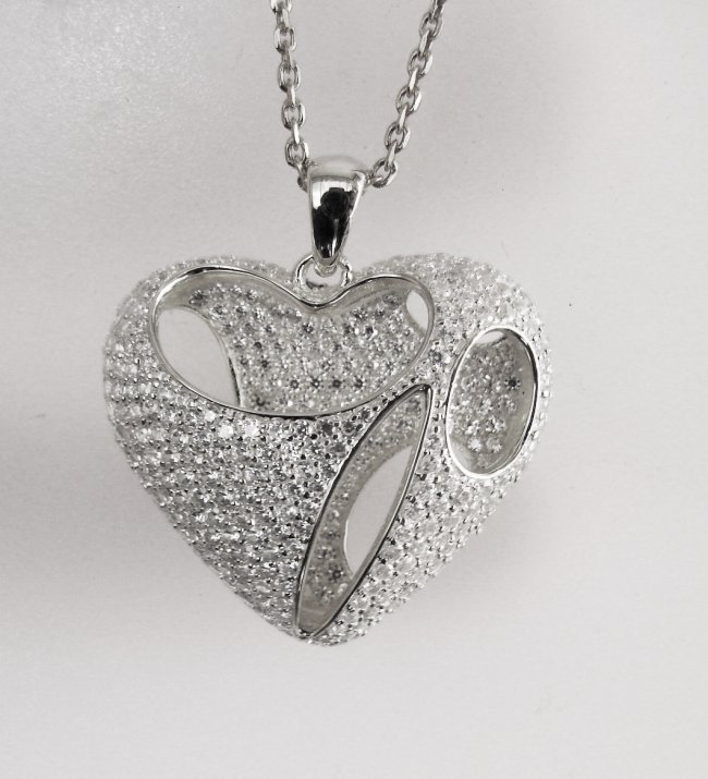 Creation Diamond Heart Pendant 2.40Ct 18k W/g Ove