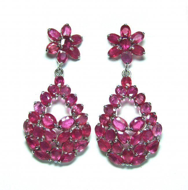 Gems Ruby Earrings 21.70 Carat 18k Y/g Overlay