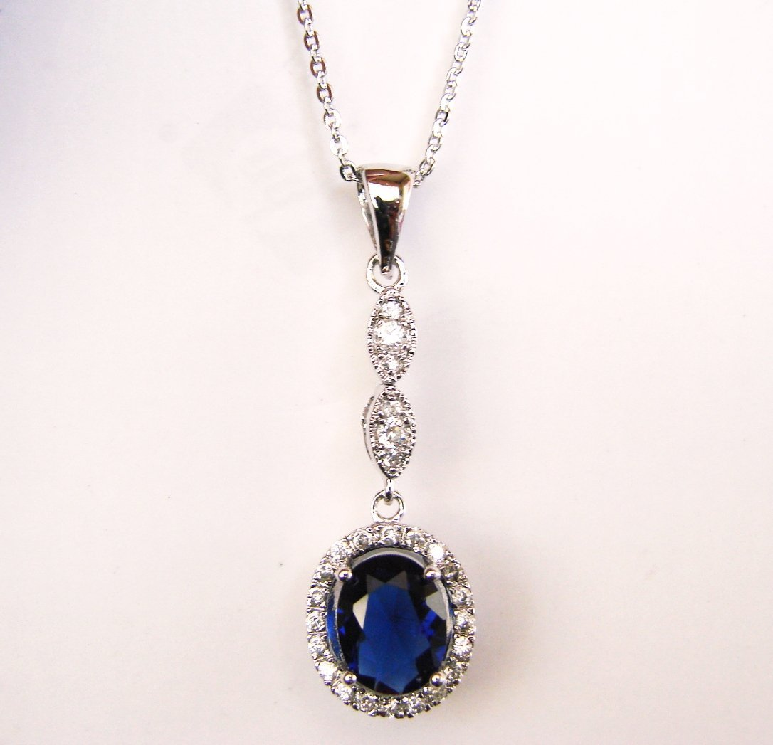 Creation Diamond/Blue Sapphire Necklace 1.93CT