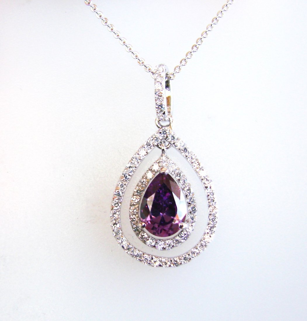 Creation Diamond/Amethyst Necklace 2.23CT