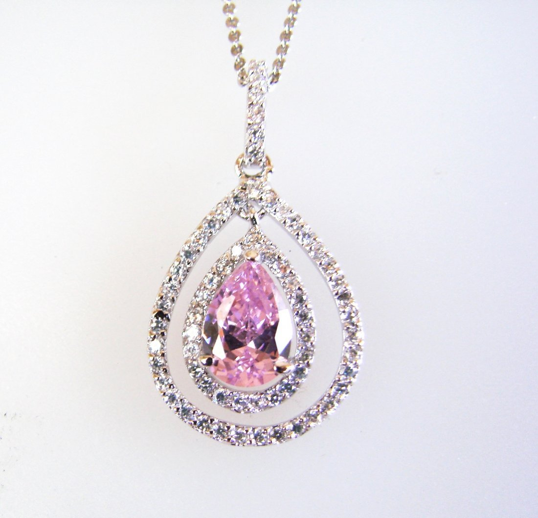 Creation Diamond/Pink Toapaz Necklace 2.23CT