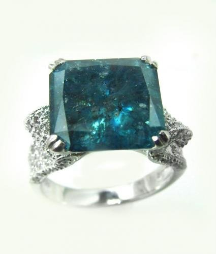 Anniversary Blue diamond Ring 8.02Ct SML W D: .80 Ct